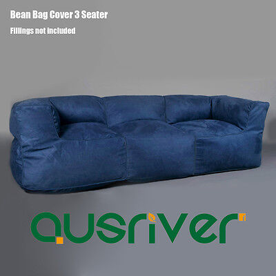 Classic Office Living Room 3 Person Couch Seater Bean Bag Cover Navy BB3PNVY