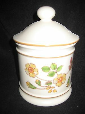 """Pretty China Pot With Lid 7"""" High In Box ( Not Original Box)"""