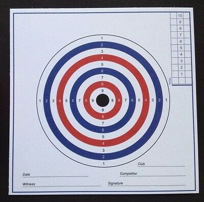 AIR RIFLE PISTOL TARGETS 100No.. 280gsm Card. (Not cheap paper targets).