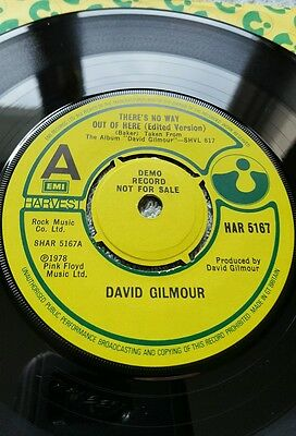 David Gilmour (Pink Floyd ) There's No Way Out Of Here - Uk 1978 Harvest Demo Nm