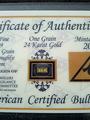 ACB GOLD 1GRAIN 24K SOLID BULLION BAR 99.99 FINE With a  CERT 0F AUTHENTICITY!