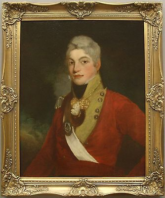 Fine 18th Century Oil Portrait Of British Red Coat Officer Antique Oil Painting