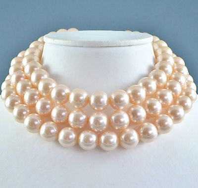 Vintage Necklace 1960s Triple Strand Chunky Faux Pearl Goldtone Bridal Jewellery
