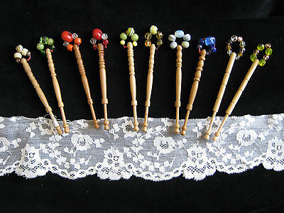 10 Vintage Wood Mixed Lace Bobbins LOT 4