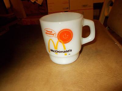 "Fire King McDonalds ""Good Morning"" Coffee Mug Cup Anchor Hocking Milk Glass"
