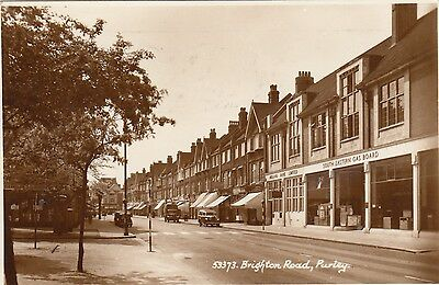 Brighton Road, Purley, Surrey, Real photo, old postcard, posted 1958
