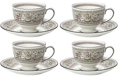 Wedgwood Florentine Sage Green 4 Teacups & Saucers (Leigh) Brand New/unused