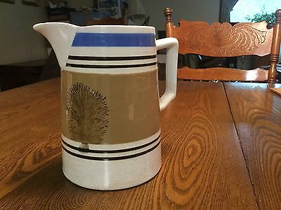"""Seaweed Mocha Ware Mochaware Pitcher Banded Blue Brown 6 3/4"""" Tall"""