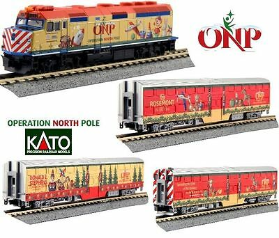 Kato 1062015 N  Operation North Pole F40PH Loco & 3 Commuter Car Set 106-2015