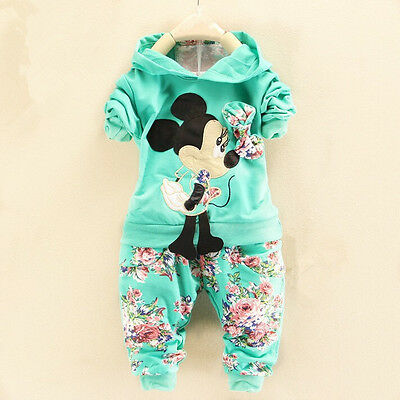 2Pcs Baby Kids Girls Outfits Hoodie T-shirt Tops+Pants Set Toddler Clothes 6-12M