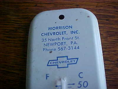 Vintage Old advertising metal thermometer Morrison Chevrolet Newport Pa