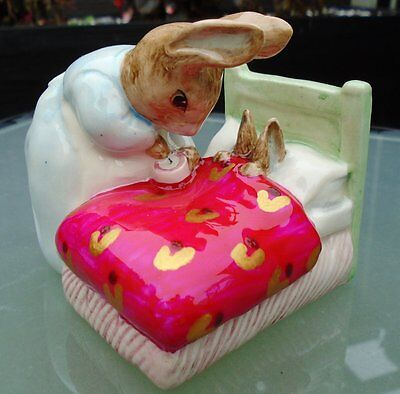 "Beswick Beatrix Potter ""PETER IN BED"" UNUSUAL & UNIQUE COLLECTABLE  BP6A"