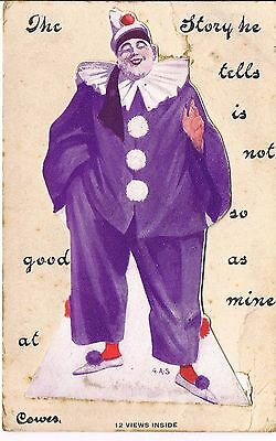 Vintage Novelty Postcard A Clown Tells A Story Of Cowes Iow 12 Views 1915