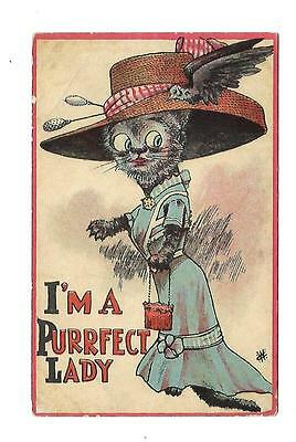 Comic Cat and Bird Vintage Postcard Artist Signed I'm A Perrfect Lady
