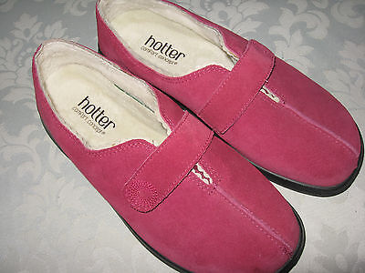 HOTTER LADIES SERENE(DEEP PINK) SUEDE SLIPPERS size 4