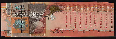 Seychelles 500 Rupees 2011 AD 000001 - 10 Low Number P44 Choice UNC Rare (10pcs)