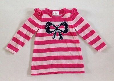Hanna Andersson Girls Sweater Tunic 90 3t Pink Stripe Navy Bow
