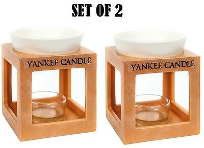 Set Of 2 Yankee Candle Rustic Modern Oil Burner Melt Warmer Tea Light Holder New