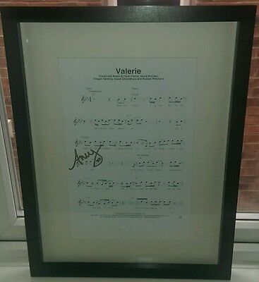 """AMY WINEHOUSEE hand signed MUSIC SHEET """"VALERIE"""" AUTOGRAPH  - Framed - RARE!!"""