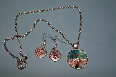 Pagan / Wicca Tree Of Life Turquoise Necklace & Earrings Set