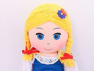 """Collectible Vintage 1977 16"""" Swiss Miss Cloth Rag Doll Plush Toy"""
