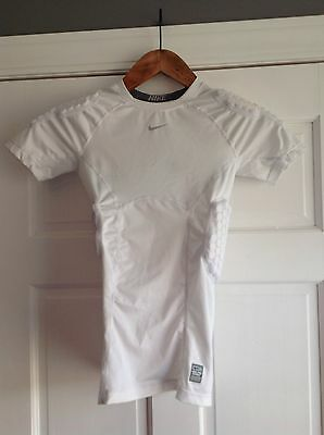 Nike Pro Combat Dri Fit Padded White Compression Shirt Boys Youth XL