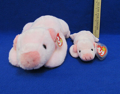 2 TY Stuffed Plush Pigs Pink Beanie Baby Buddies Collection Squealer Black Eyes