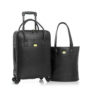 JOY Couture City Collection Tote and Carry-On Wheeled Dresser-BLACK-NWT