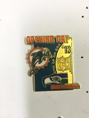 Official NFL Miami Dolphins  Pin Badge #1 Opening day V Seattle Seahawks