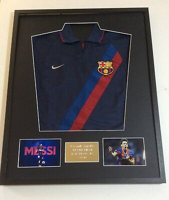 Lionel Messi Barcelona FC Hand Signed Mounted Shirt