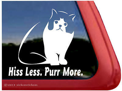 Hiss Less. Purr More. | High Quality Vinyl Exotic Shorthair Cat Window Decal