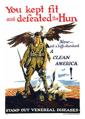 WWI You Defeated The Hun Now Stamp Out Venereal Disease Wall Decor Poster
