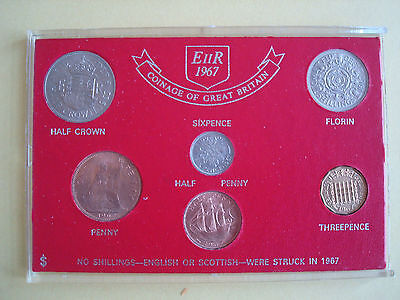 UK 1967 Uncirculated Coin Set of 6 in perspex case