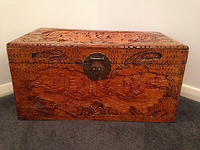 Large Carved Wooden Asian Storage Box