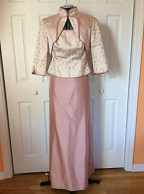 JS Collections Formal bride's mother Shimmery Champagne 3 Piece Skirt Suit Sz 12