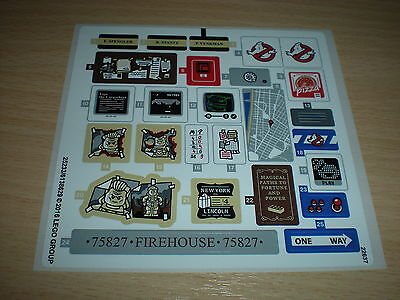 Lego Sticker Sheet for Set (75827) Firehouse Headquarters (Ghostbusters) *New*