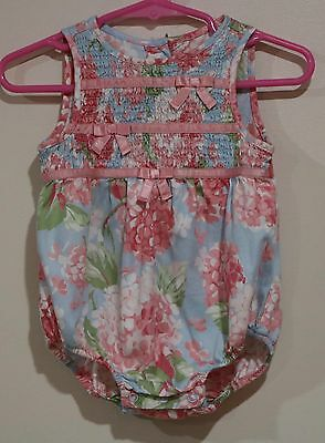 EUC Janie and Jack Girls Blue Pink Smocked Floral Romper Outfit Size 6-12 Months