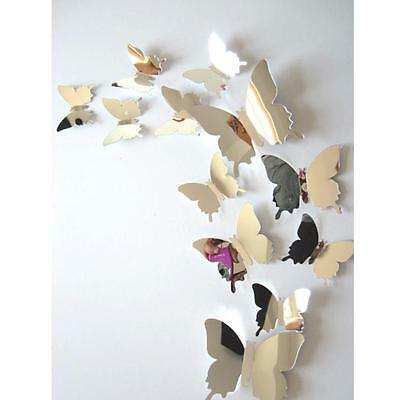 Fashion Wall Stickers Decal Butterflies 3D Mirror Wall Art Home Decoration