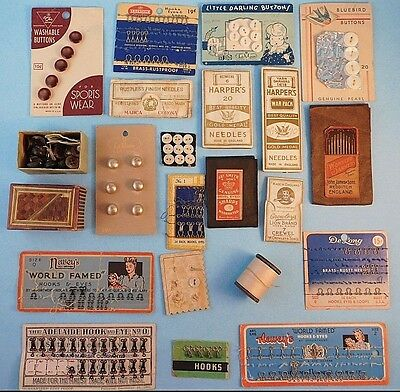 Lot Misc Antique & VTG Sewing Notions Sharps Needles Thread Buttons