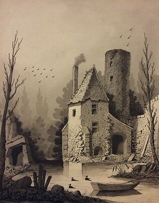 Fine monotone drawing c. 1840's of a French Home with interesting surroundings.