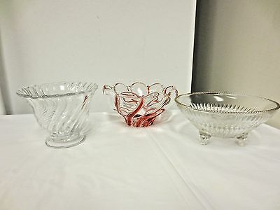 Lot 3 Older Mayonnaise/Candy Bowls:Fostoria Colony,Mikasa Peppermint,Jeannette A