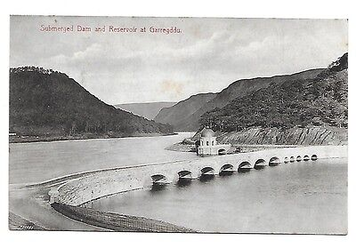 GARREGDDU Submerged Dam & Reservoir Early Powys Postcard Wales.