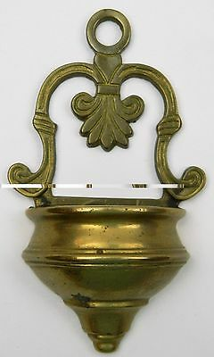 Vtg Brass Wall Mount Hanging Holy Water Font Cup Flower Planter Wall Pocket