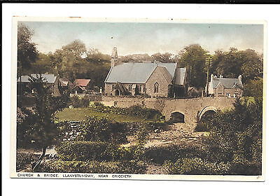 LLAMYSTUMDWY - CHURCH & BRIDGE - OLD POSTCARD - Nr. CRICCIETH, CAERNARVON, WALES
