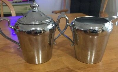 Vintage Cromwell Chromium Sugar Bowl w/Lid & Creamer Silver Excellent!