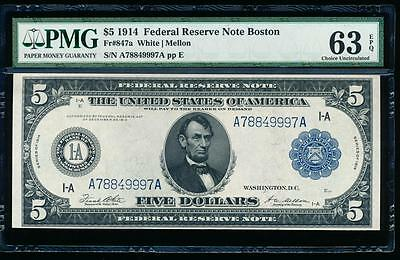 AC Fr 847a 1914 $5 Boston Federal Reserve Note PMG 63EPQ uncirculated