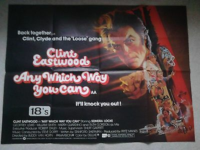 """Clint Eastwood """"Any which way you can"""" Original Quad film poster"""