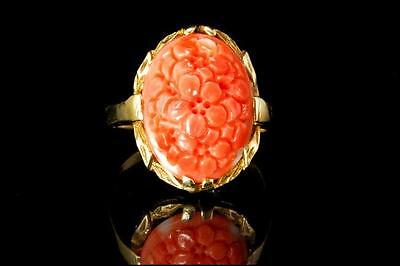 Antique Chinese Carved Salmon Coral Cabochon Flower 10K Gold Ring (010317065)