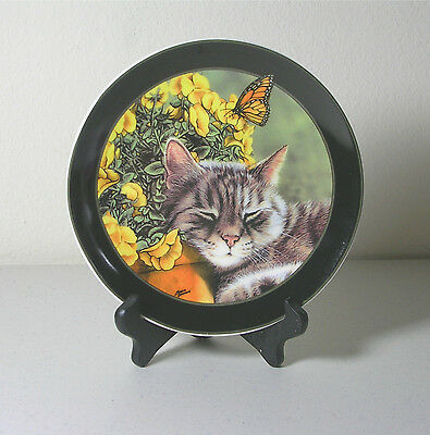 Porcelain Cat Collector Plate with Stand Afternoon Nap