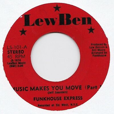 Funkhouse Express Music Makes You Move LewBen 45 Funk 1974